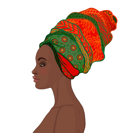Portrait of beautiful African woman in turban (profile view) Vectores