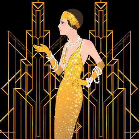 young woman face: Flapper girl: Retro party invitation design template. Vector illustration.