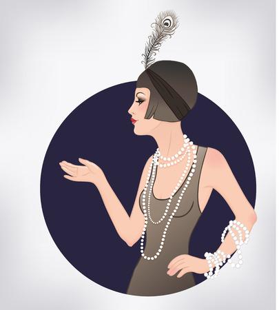 thirties: Flapper girl: Retro party invitation design template. Vector illustration.