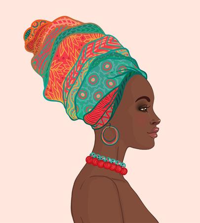 wraps: Retrato de la hermosa mujer africana en el turbante vista de perfil Vectores
