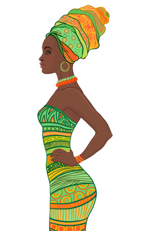 dress: Portrait of beautiful African American woman in turban and sexy bandage dress profile view