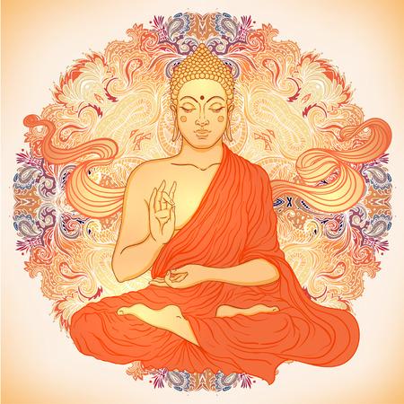 mano de dios: Buda sentado sobre adornado patr�n mandala ronda. Ilustraci�n del vector.