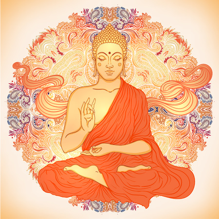 Sitting Buddha over ornate mandala round pattern. Vector illustration.