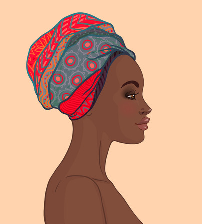 Portrait of beautiful African woman in turban profile view Stock Illustratie