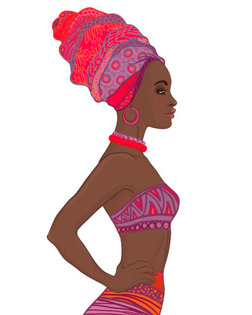 full length portrait: Portrait of beautiful African American woman in turban and sexy bandage dress profile view