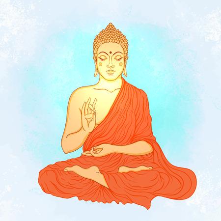 asian lifestyle: Sitting Buddha over ornate mandala round pattern. Vector illustration. Illustration