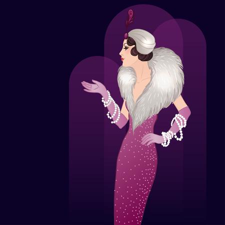 nostalgia: Flapper girl: Retro party invitation design template. Vector illustration.