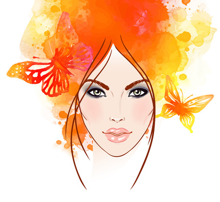 natural face: Beautiful girls face with butterflies in her hair. Watercolor illustration in vector