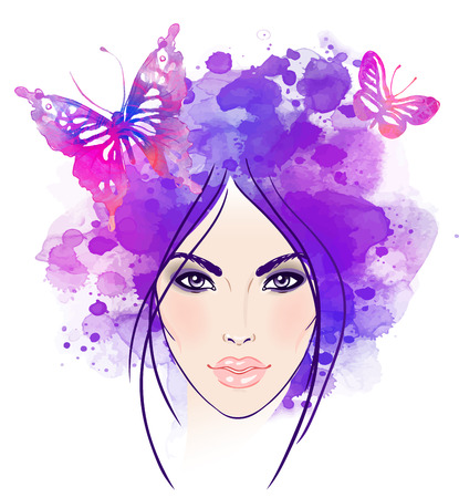 skin care woman: Beautiful girls face with butterflies in her hair. Watercolor illustration in vector