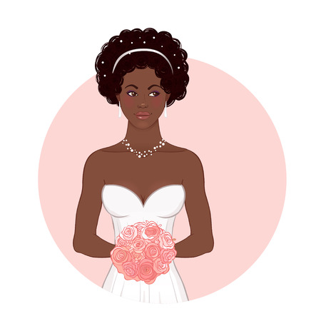 full length woman: Pretty African American Bride in Her Wedding Dress with bouquet. Vector illustration.