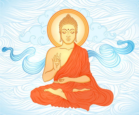bouddha: Bouddha assis sur orné mandala jet rond. Vector illustration.