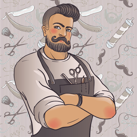 whisker characters: Hipster Barber Shop Business Card design template. Vector illustration.