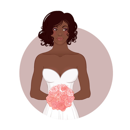 Pretty African American Bride in Her Wedding Dress with bouquet. Vector illustration.