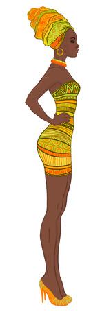 Portret van mooie Afro-Amerikaanse vrouw in tulband en sexy bandage jurk profiel te bekijken Stock Illustratie
