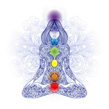 equilibrio: Silueta de la mujer adornado sentado en posición de loto. Meditación, aura y chakras. Ilustración del vector.