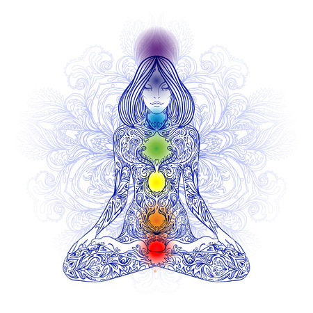 healing: Woman ornate silhouette sitting in lotus pose. Meditation, aura and chakras. Vector illustration.
