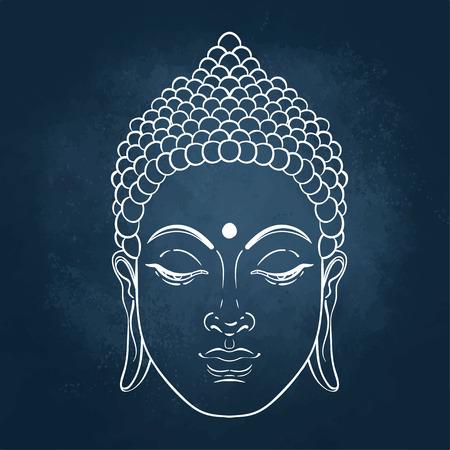 Sitting Buddha. Vector illustration over the blackboard background.