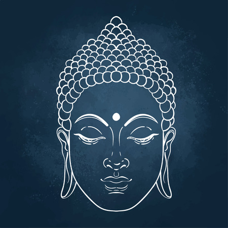 Sitting Buddha. Vector illustration over the blackboard background.