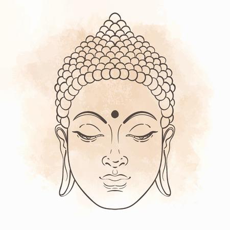 Bouddha assis. Vector illustration sur le fond tableau.