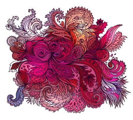 flores abstractas: Vector colorido de la textura de Paisley con las flores abstractas