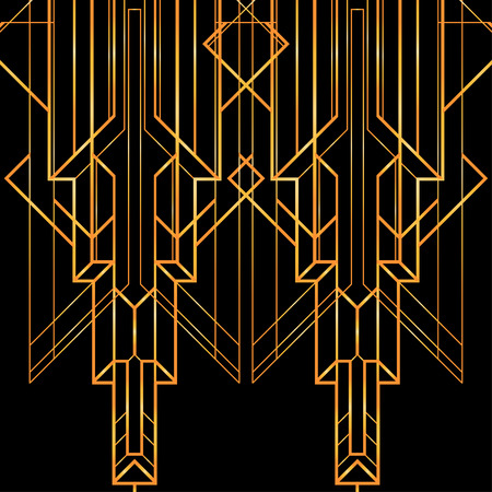geometric lines: Art deco geometric pattern (1920s style) Illustration