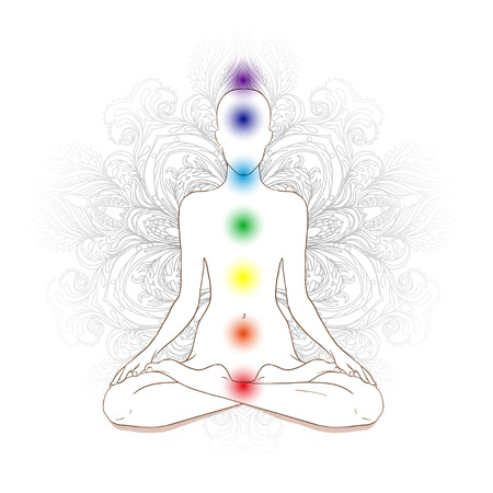 therapies: Chakras concept. Silhouette in lotus position over gray ornate mandala. Vector illustration.