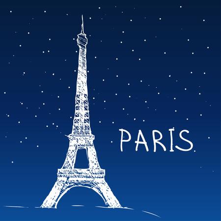 night art: World famous landmark series: Eiffel Tower, Paris, France Illustration