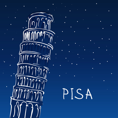 leaning tower: World famous landmark series: The Leaning Tower, Pisa, Italy, Europe Illustration