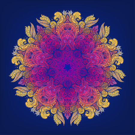 simbolo medicina: Mandala. Modelo redondo hermoso de la vendimia en el vector.