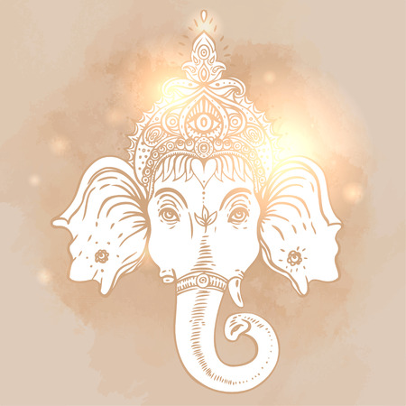 hindu god: Hindu Lord Ganesha over ornate colorful mandala. Vector illustration. Illustration