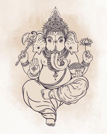 indianische muster: Hindu Ganesha �ber verzierten bunten Mandala. Vektor-Illustration. Illustration