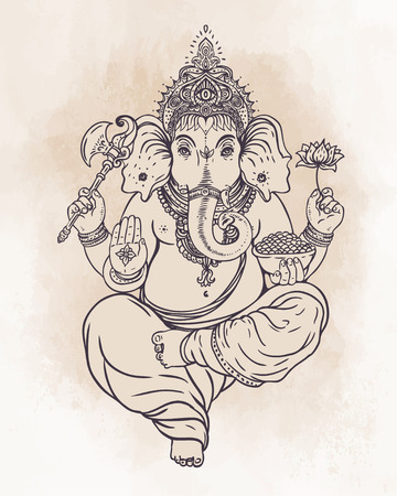 mythology: Hindu Lord Ganesha over ornate colorful mandala. Vector illustration. Illustration