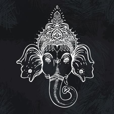 seigneur: Hindoue Seigneur Ganesha sur mandala color� orn�. Vector illustration.