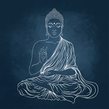 Sitting Buddha. Vector illustration over the blackboard background. Imagens - 43572944