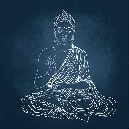 Zittende Boeddha. Vector illustratie op het bord achtergrond.