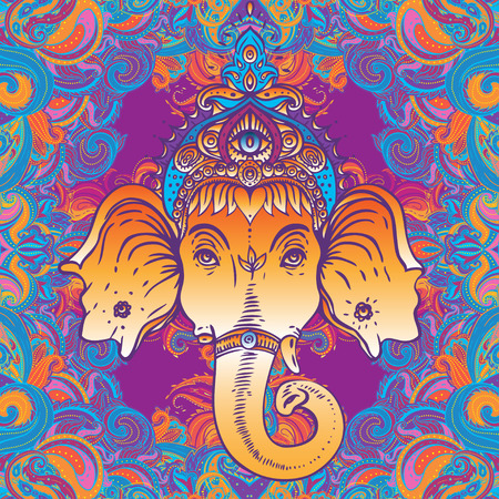 Hindu Lord Ganesha over ornate colorful mandala. Vector illustration. Stock Illustratie