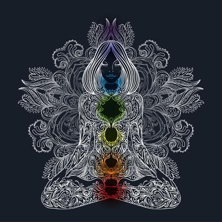 Silueta de la mujer adornado sentado en posición de loto. Meditación, aura y chakras. Ilustración del vector.