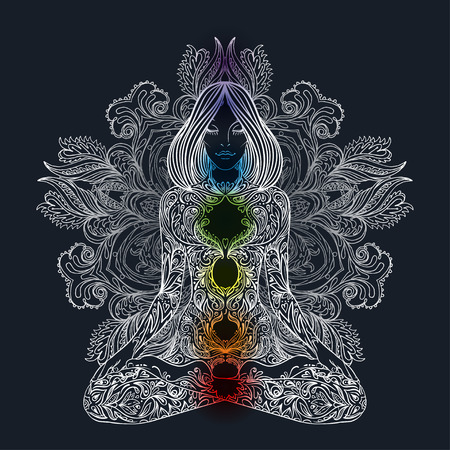 armonía: Silueta de la mujer adornado sentado en posición de loto. Meditación, aura y chakras. Ilustración del vector.