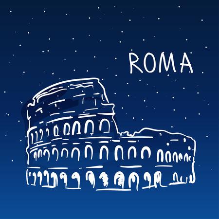 rome: World famous landmark series: Colosseum, Rome, Italy. Night vector illustration.