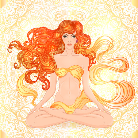 Beautiful Caucasian Girl with long curly hair sitting in Lotus pose over gold ornate pattern on background. Vector illustration. Spa consent, yoga studio, or natural medicine clinic.