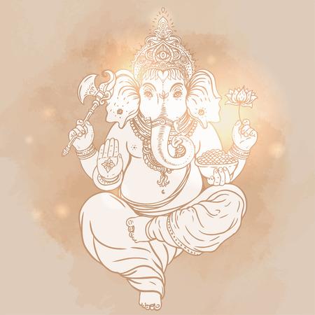 ganesha: Hindu Lord Ganesha over ornate colorful mandala. Vector illustration. Illustration