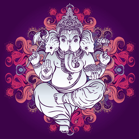 Hindu Lord Ganesha over ornate colorful mandala. Vector illustration. Vettoriali
