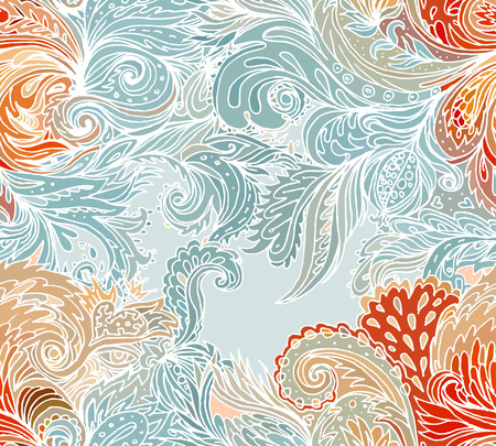 batik motif: Beautiful ornate floral paisley seamless pattern