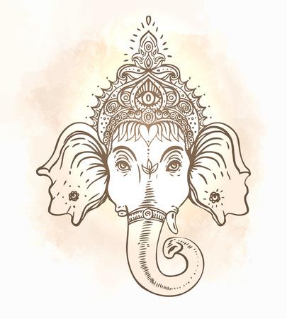 indian elephant: Hindu Lord Ganesha over ornate colorful mandala. Vector illustration. Illustration