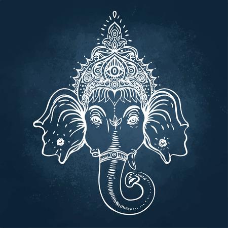 화려한 다채로운 만다라를 통해 힌두교 주 님 코끼리. 벡터 일러스트 레이 션.