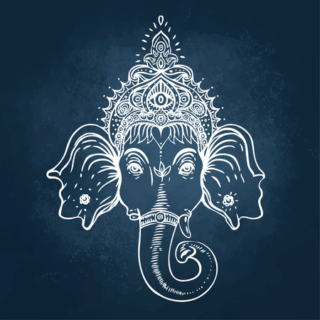 Hindu Lord Ganesha over ornate colorful mandala. Vector illustration. Çizim