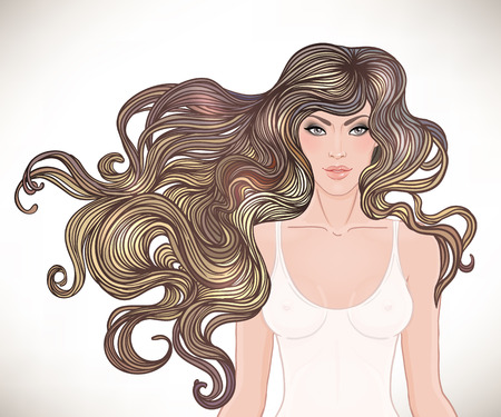 Beautiful Caucasian girl with long curly hair. Vector illustration. Spa, hair salon, beauty or fashion consent. Stock Illustratie