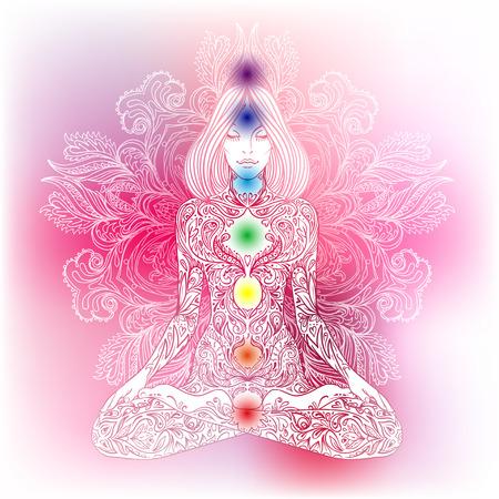 Silueta de la mujer adornado sentado en posición de loto. Meditación, aura y chakras. Ilustración del vector. Ilustración de vector