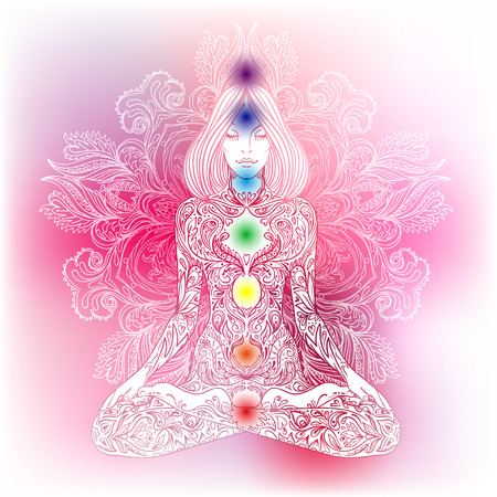 sacral: Woman ornate silhouette sitting in lotus pose. Meditation, aura and chakras. Vector illustration.