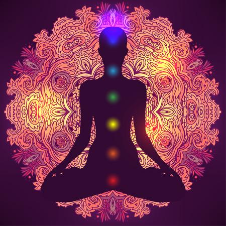 Silueta de la mujer adornado sentado en posición de loto. Meditación, aura y chakras. Ilustración del vector. Foto de archivo - 43573213